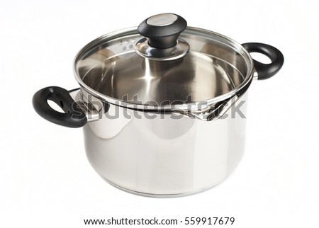 White pot with lid and metal handles on a white background