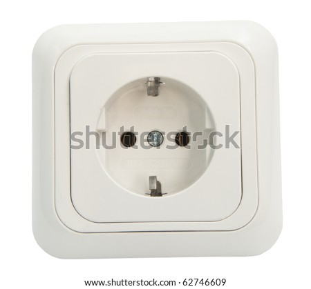 White Power Outlet and socket isolated - stock photo