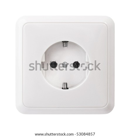White power outlet, isolated - stock photo