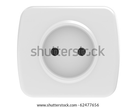 White power outlet, isolated on a  white background - stock photo