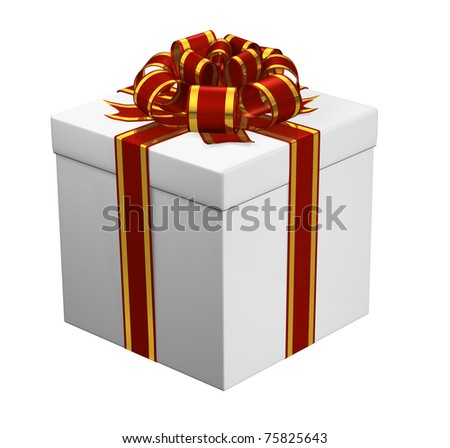 White present wrapped in a shiny red and golden ribbon. - stock photo