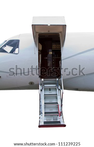 white private jet and open ladder in a private jet isolated on a white background - stock photo