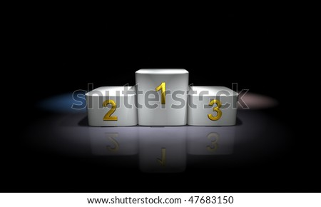 White prize podium lit with colored spotlights - stock photo