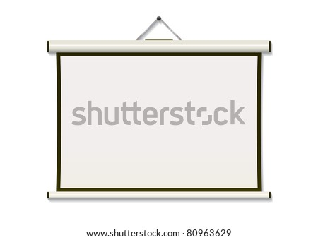 White projection screen hanging from wall with copyspace - stock photo
