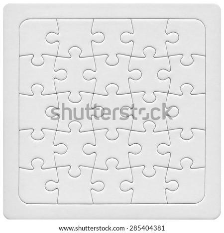 White puzzle isolated on white background - stock photo