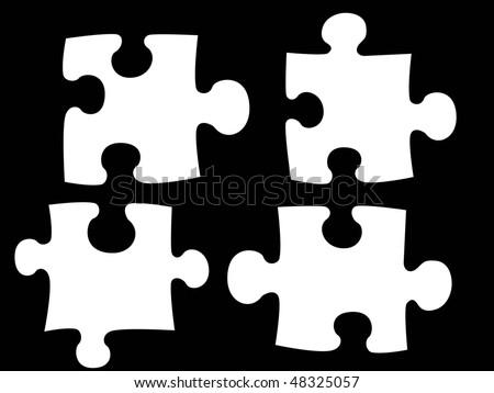 white  puzzle on black background - stock photo