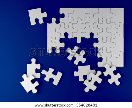 white puzzle on blue background business team strategy 3D illustration