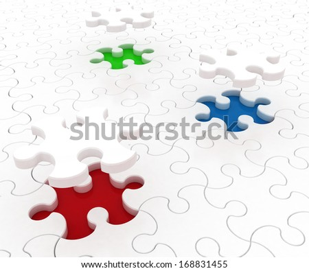 White puzzle on colored background. Isolated 3D image - stock photo