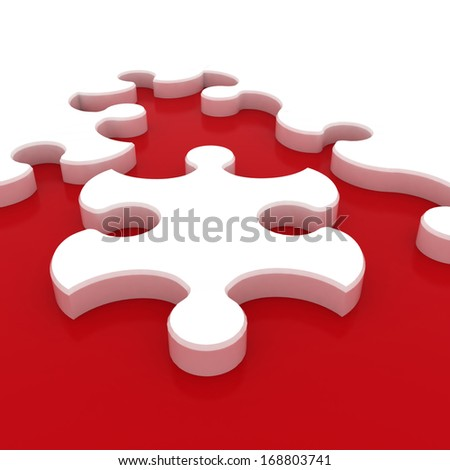 White puzzle on red background. Isolated 3D image - stock photo