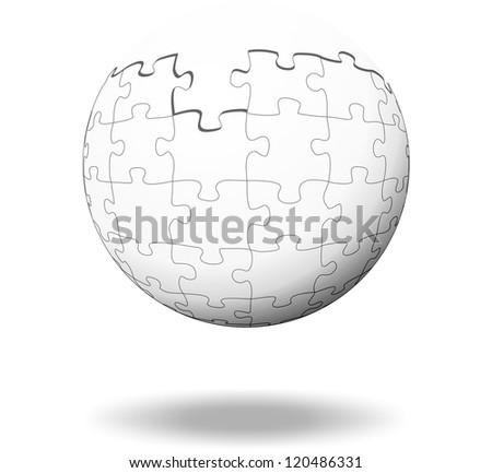 white puzzle pieces as a ball