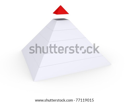 White pyramid with red top detached - stock photo