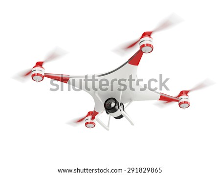 white quadcopter drone with HD camera in flight isolated on white background - stock photo