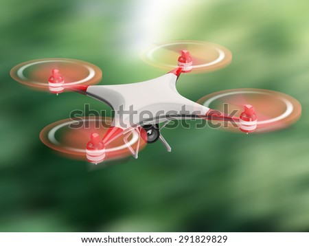 white quadcopter drone with HD camera in flight on green background - stock photo
