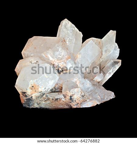 White quartz crystal isolated on black background - stock photo