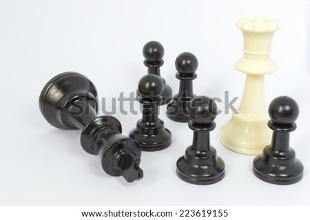 White queen and black pawn chess with white background