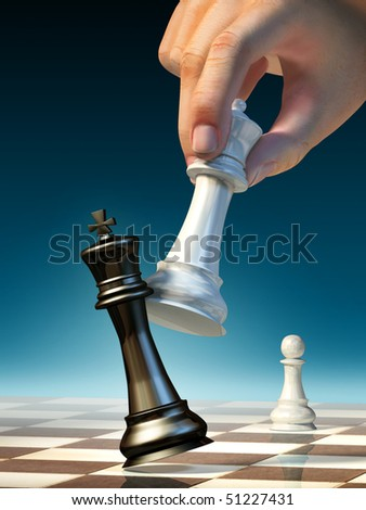 White queen moves to win a chess game. Digital illustration. - stock photo