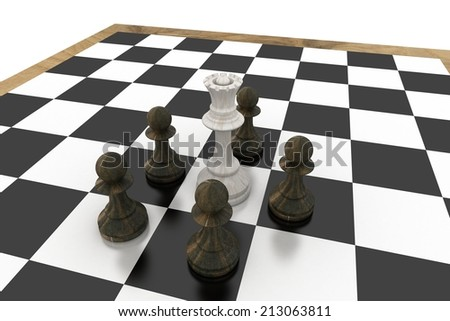 White queen surrounded by black pawns on white background