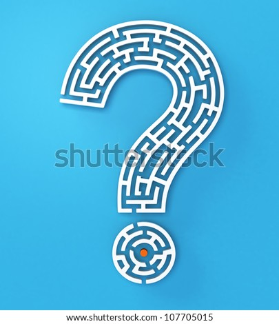 white question mark on light blue background - stock photo