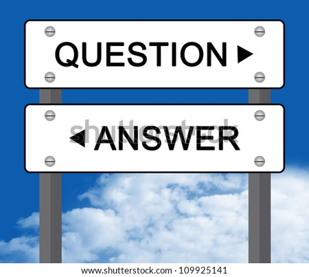 White Question or Answer Street Sign in Blue Sky Background - stock photo