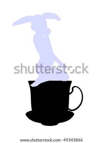 White rabbit from allice in wonderland illustration silhouette on a white background