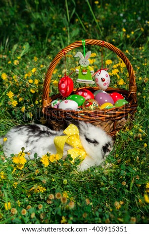 White rabbit lying in front of  Easter wicker basket decorated with colorful painted eggs on background of grass and yellow flowers. Easter basket, bunny in the grass. Vertical. Daylight. Outdoors.  - stock photo