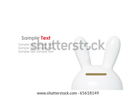 White Rabbit Savings Bank on White Background - stock photo