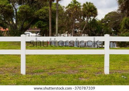 White rail fence - stock photo