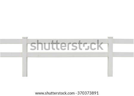 White rail fence isolated on white - stock photo