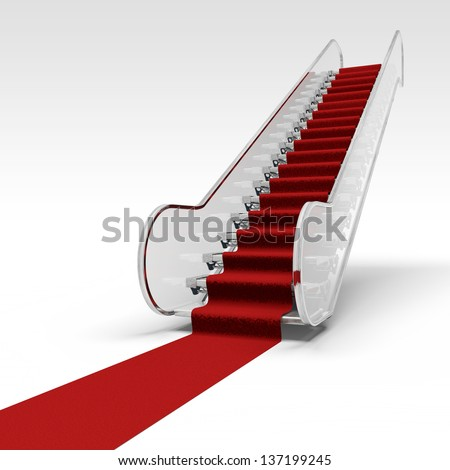 white ramp in airport and red carpet - stock photo