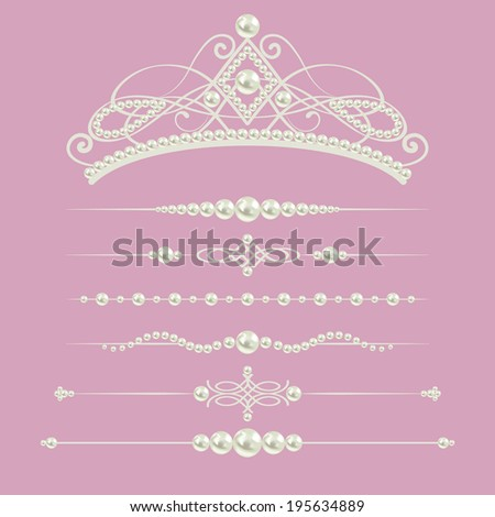 White realistic pearl dividers set collection with diadem isolated on purple pink background. Raster copy. design elements and page decor - stock photo