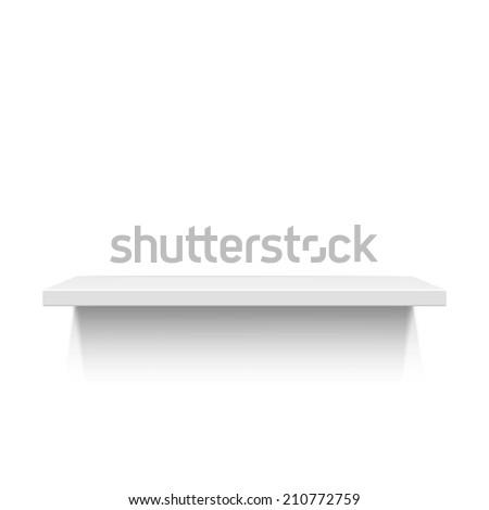 White realistic shelf isolated on white background - stock photo