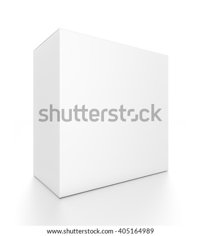 White rectangle blank box from front side angle. 3D illustration isolated on white background. - stock photo