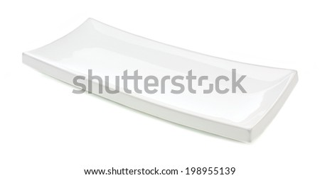 White rectangular serving plate isolated on a white background - stock photo