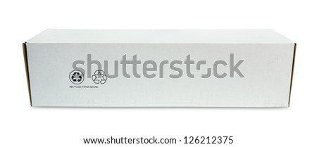 white recycle paper box isolated with clipping path - stock photo