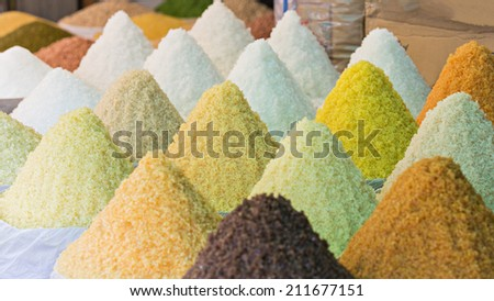 White refine sugar, rock sugar, muscovado sugar, brown sugar and coconut sugar .( Duong) - stock photo