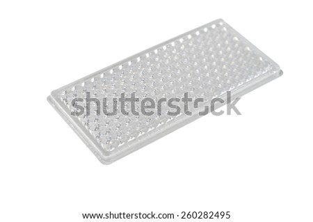 white reflective car light isolated on white  - stock photo