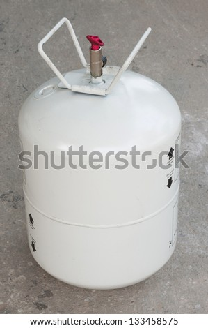 White refrigerant tank use for air conditioner. - stock photo