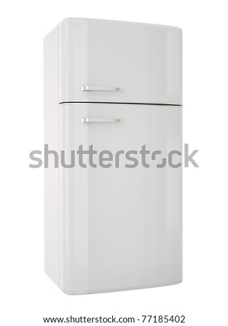 White refrigerator.3D render - stock photo