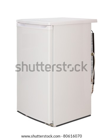 White refrigerator. Isolated over white with clipping path - stock photo
