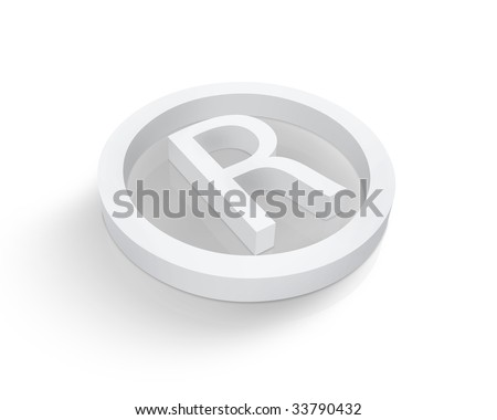White Registered trademark symbol - stock photo
