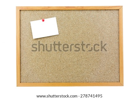 White reminder sticky note on cork board, empty space for text - stock photo