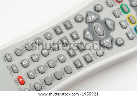 White remote control with grey and red buttons