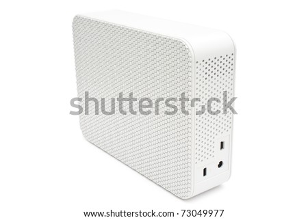 white removable hard disk isolated on white - stock photo
