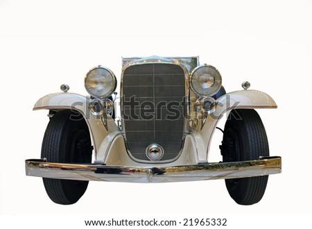 white  retro car isolated on white - stock photo