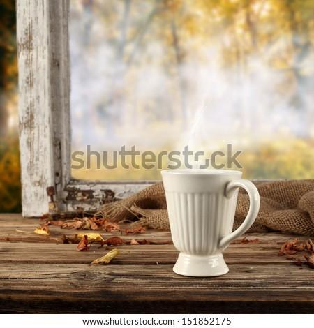 white retro cup  - stock photo