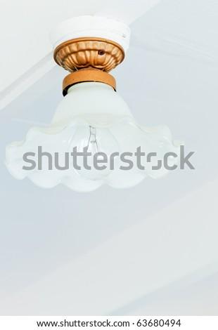 White retro lamp - stock photo