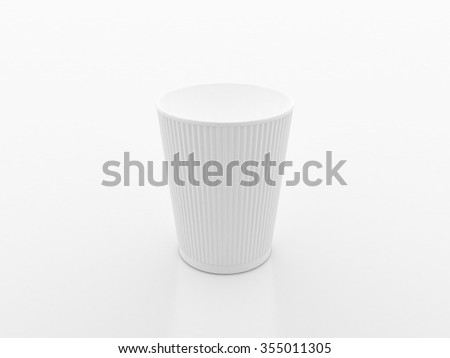 White Ribbed Paper Cup on a white background - stock photo