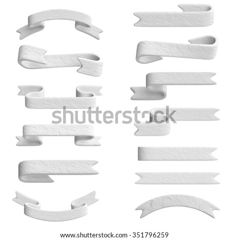 White ribbon in plasticine or clay style. 3d illustration. - stock photo