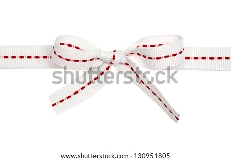 white ribbon with line and bow, isolated on white background - stock photo