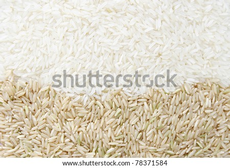 white rice and brown rice background texture - stock photo